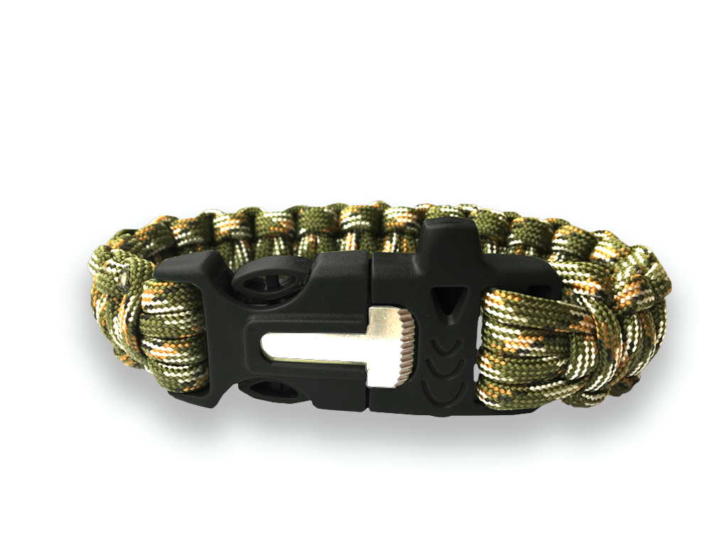 CAMO SURVIVAL PARACORD BRACELET WITH FIRE STARTER AND WHISTLE