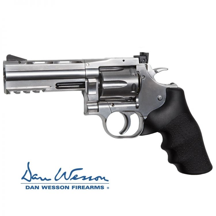 "Revolver Dan Wesson 715, 4 ""Silver - 4.5 mm Co2 pellets"