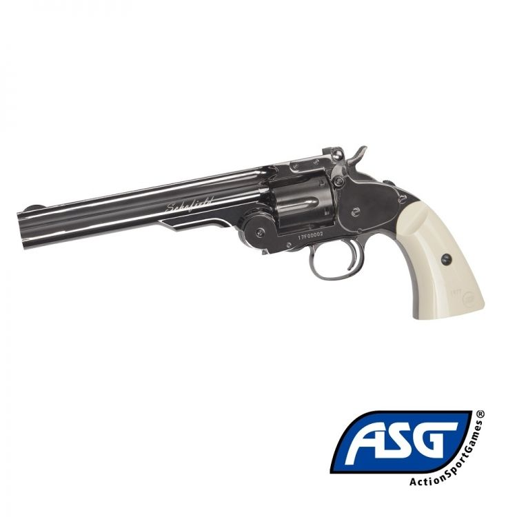 "Revolver Schofield 6 ""Plated Steel Full metal - 4.5 mm Co2 Bbs Steel"