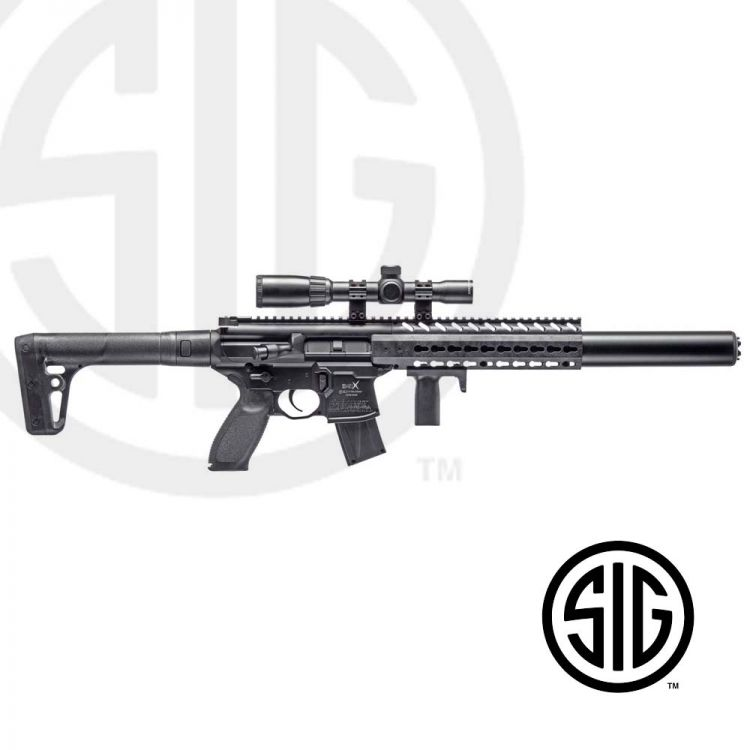 Submachine Sig Sauer MCX ASP Black + Visor 1-4x24 Co2 - 4,5 pellets