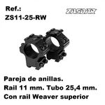 Monturas Zasdar Altura Media con rail superior Weaver   Ø25 mm / rail 9 - 11 mm