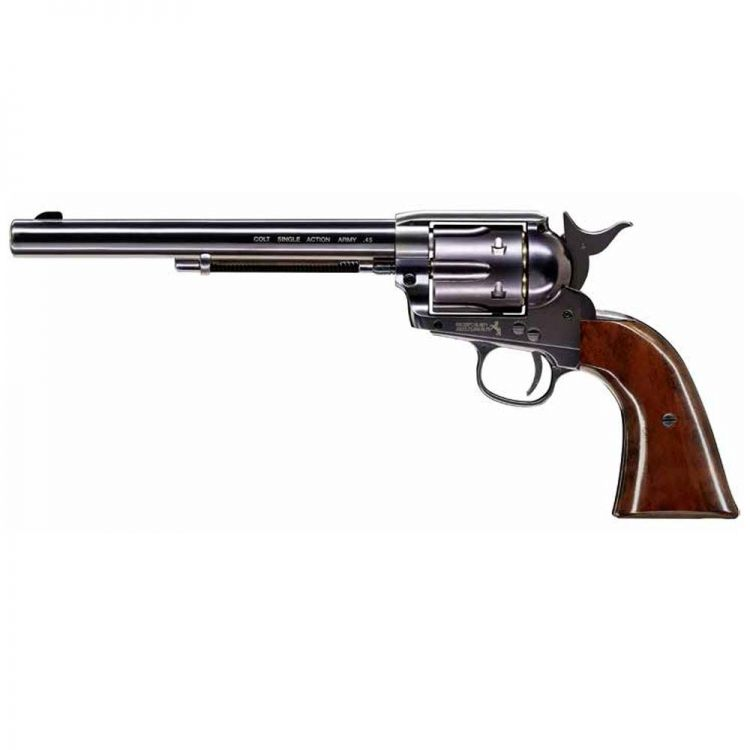 "Revolver Colt SAA .45 pavón grip color madera cañón 7,5"" Co2 - 4,5 mm Balines"
